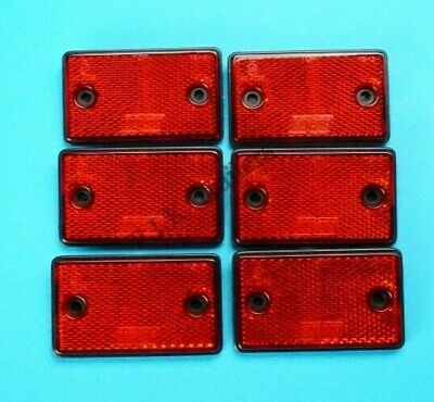 6 x RED Rear Reflectors Screw-on / Self Adhesive 75mm x 46mm - Trailer