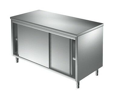 meuble inox portes coulissantes centrale 2000 x700 x900 mm( table armoire inox )