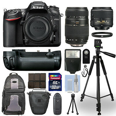 Nikon D7200 Digital SLR Camera Body + 18-55mm + 70-300mm + Battery Grip Bundle
