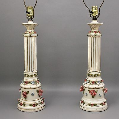 Beautiful Pair of Vtg Floral Porcelain Table Lamps Roses Gold French Trim Column