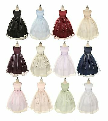 New Flower Girls Dress Pageant Wedding Birthday Formal Party Bridesmaid Baby USA