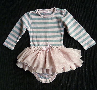 Baby clothes GIRL 6-9m NEXT pink/grey stripe tutu dress/bodysuit COMBINE POST!