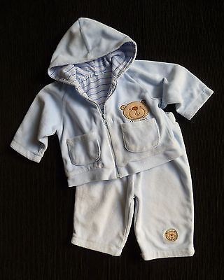 Baby clothes BOY 3-6m pramsuit outfit blue velour bear zip jacket/soft trousers