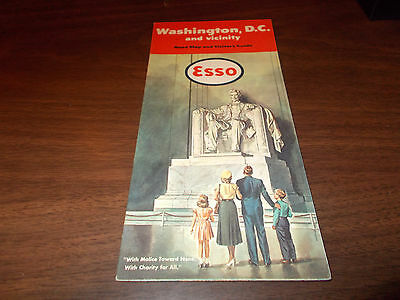 1951 Esso Washington, DC Vintage Road Map / Nice Cover Art of Lincoln Memorial