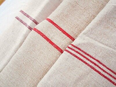 3 Vintage Antique HEAVY HEMP LINEN RED STRIPE Fabric FEED SACK GRAIN BAGS
