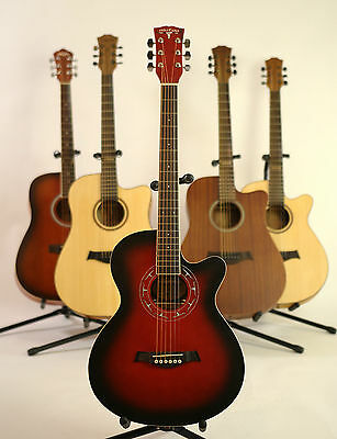 iMusic53 Red Acoustic Guitar Brand New 39 inch sounds nice