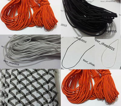 5M High Quality Elastic Stretchable Thin Cord  In Black, White & Orange 5 Meter