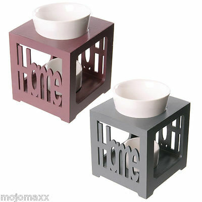 Wood Home Fretwork Tealight Home Fragrance Oil Burner Ceramic Dish Gift OB224