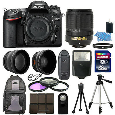 Nikon D7200 Digital SLR Camera Black + 3 Lens Kit 18-140mm VR Lens + 32GB Bundle