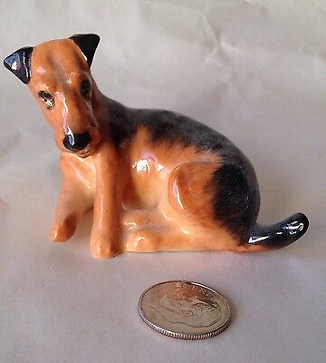 Vintage Royal Doulton Airedale Terrier Lying Down Bone China Figurine