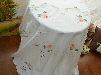 "72"" Round Victorian White Battenburg Lace Rose Wedding Tablecloth"