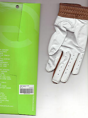 """NEU""  GENUIN Golfhandschuhe right Hand nappa withe - brandy"