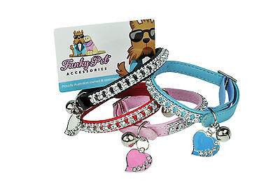 Cat Kitten Collar | Rhinestone Diamante Design | I.d Tag | 12 Months Guarantee