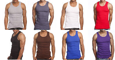 3 or 6 Pack Men's Tank Top 100% Cotton A-Shirt Lot Wife Beater Ribbed Undershirt