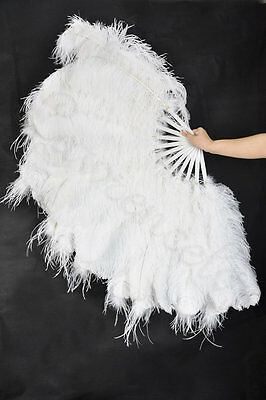 "56"" Super fluffy 3 layers ostrich feather fan with boa Burlesque White"