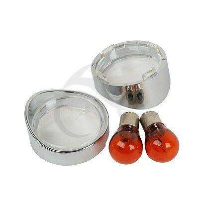 Clear Turn Signal Lens Cover Chrome Visor Ring w/ Bulb for Harley Dyna Softail