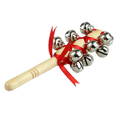New Wooden Stick Hand Bells Jingles Musical Instrument Percussion for Kids Child