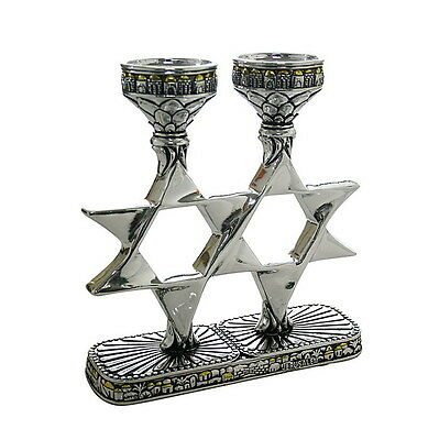Judaica Candlestick Candle Holders Shabbat Holiday Magen David Star Jerusalem