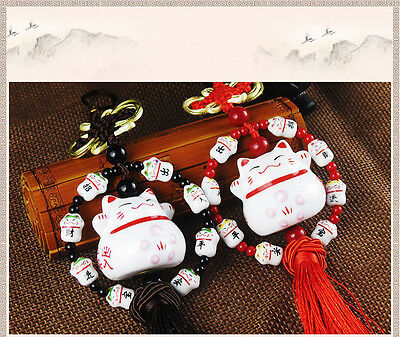 Lucky Cat Hanging Smiling Face Cute Safe Peace Ceramic Fortune Lovely Auto Decor