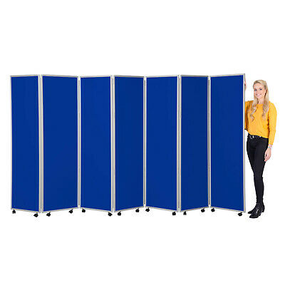 Mobile Folding Office Room Divider 7 Panels 1800mm h Nyloop Fabric