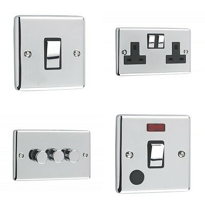 Windsor Range - Polished Chrome Sockets and Switches Black Trim