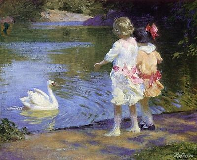 Custom any Edward Potthast Oil Painting repro The Swan