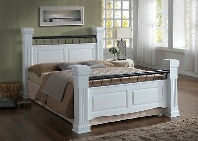 4Ft6 Double Rolo Bed Frame- Modern Traditional Wood Bed- Four Poster White