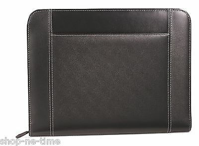 Gemline Eton Executive Black Leather Zippered Padfolio w/ Pocket for Tablets New
