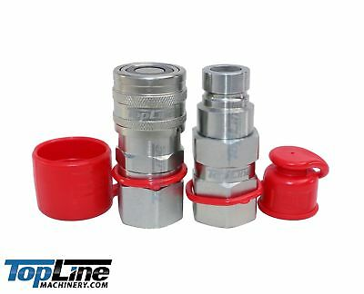 TL22 Flat Face Hydraulic Quick Couplers 3/4 SAE -12 Bobcat skid steer fittings