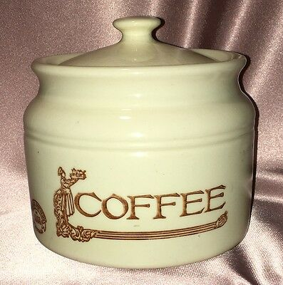 Vintage ~ Cream Brown Bendigo Pottery Coffee Canister ~ Estate Collectable