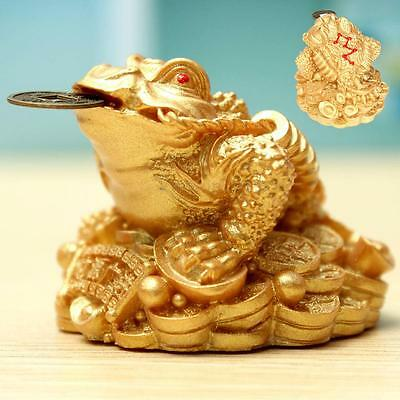 Feng Shui Money Wealth LUCKY Fortune Golden Frog Toad Coin Home Tabletop Decor