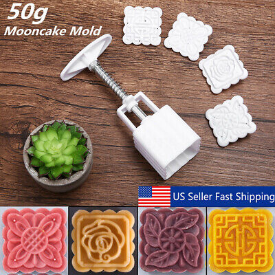 4Pcs Stamps Square Flowers Moon Cake Mold Pastry Mooncake Baking Decor Tool 50g