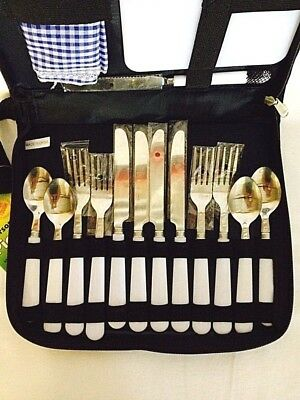 Picnic Wallet 4 Person Camping Set Cutlery Set Cheeseboard Bottle Opener