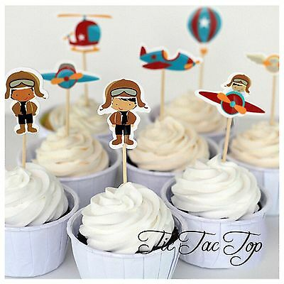 12x Pilot Flying Airplane Cupcake Toppers Picks. *Superb Quality*