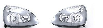 Renault Clio 2001-2005 Grey Headlights Headlamps 1 X Pair Right And Left O/s N/s