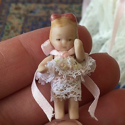Dolls House Dollhouse OOAK Miniature Artisan Bisque Porcelain Baby Girl Doll