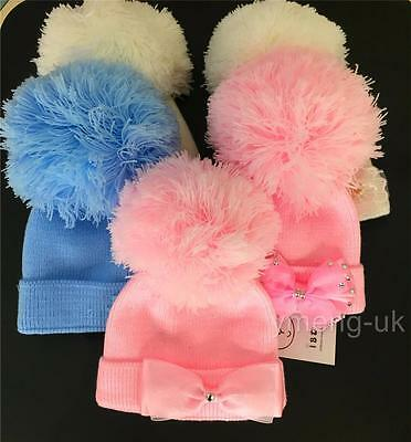 Baby Girl Pull on Hat with Ribbon Bow/Pompom/Fully Lined/ Diamantee/Cream/Pink/