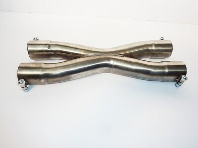 """2.5"""" 63mm Exhaust Stainless Steel X Pipe Section Divider Bolt On"""