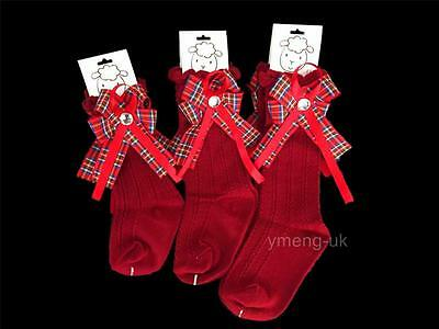 Baby Girl Red Knee High Socks with Tartan Bow/Diamante/Red/ONE SUPPLIED