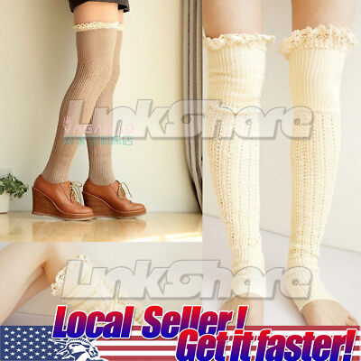 TX LOCAL Women Crochet Lace Trim Cotton Knit Leg Warmers Boot Socks Cuffs High