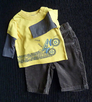 Baby clothes BOY 3-6m yellow long sleeve tractor top/NEXT brown trouser SEE SHOP