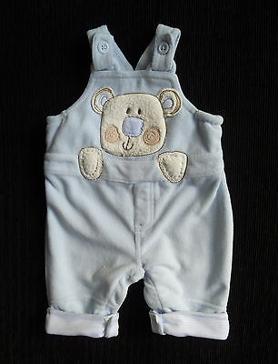 Baby clothes BOY 0-3m soft fleece pramsuit/dungarees blue bear COMBINE POSTAGE!