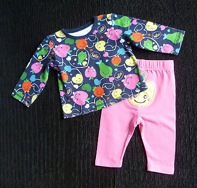Baby clothes GIRL 0-3m bright George outfit fruits long sleeve top/soft leggings