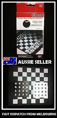 Travel Magnetic Folding Chess Set Board Box Game Checkers Pocket Size 16.5x20cm