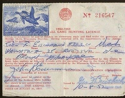 WISCONSIN 1951 Resident Hunting License/ RW18 Federal Duck Stamp - 201