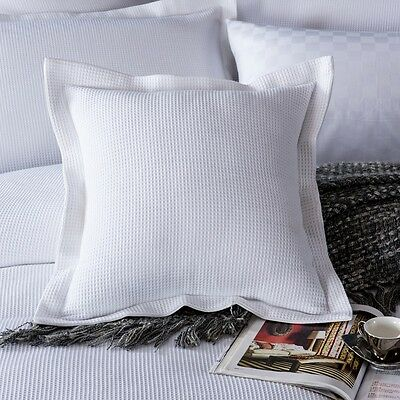 New 100% cotton Luxury Waffle European Pillowcase Cushion cover White 65x65+5cm