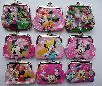 MINNIE MOUSE Childrens Coin Purse 9 designs party bag filler Lot NEW