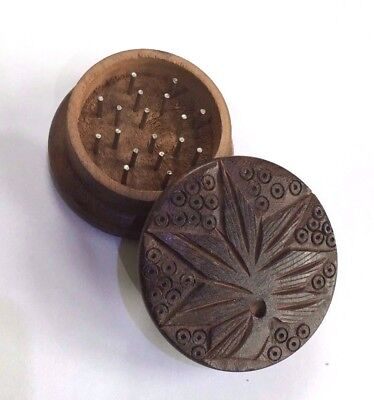 2pc Herb Grinder Wooden Wood Metal Pin Solid Wood With Hand Carved Leaf Design