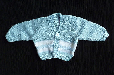 Baby clothes BOY newborn 0-1m hand-knitted pattern blue/white cardigan SEE SHOP!