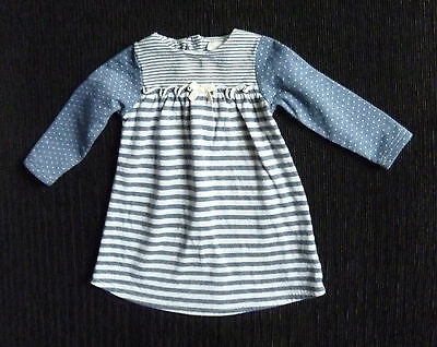 Baby clothes GIRL 6-9m NEXTdark blue/grey long sleeve stripe spot dress SEE SHOP